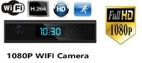 Wholesale wide lens ip camera resale online - WiFi Clock IP camera FULL HD P Alarm clock MINI DV DVR with degree wide angle Night vision lens support remote monitoring
