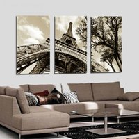 Wholesale art oil painting paris resale online - 3 Panel Modular Art Oil Painting Paris City Eiffel Tower Home Wall Decor Printed on High Quality Canvas in custom sizes