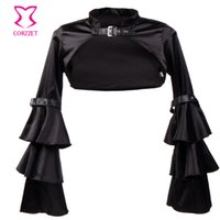 accessoires manteau noir achat en gros de-Vente en gros- Corzzet Vintage noir satin gothique court veste à manches longues manteau pour les femmes victorien veste accessoires corset femmes hiver