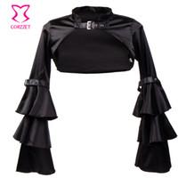 ingrosso accessori di cappotto nero-Wholesale- Corzzet Vintage Black Satin Gothic Short Jacket Cappotto manica lunga per le donne Accessori giacca vittoriana Corsetto donna inverno