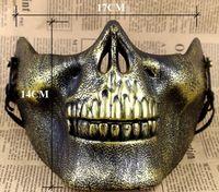 plastik iskelet kafatası toptan satış-Sınırlı Plastik Kafatası Maskesi Paskalya Masquerade Maskeleri Kafatası Maskeleri İskelet Airsoft Paintball Yarım Yüz Koruyucu Maske Sıcak Satış Cadılar Bayramı