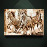 ingrosso tre pattini a cavallo-Moderna pittura a olio europea tre galoppo cavallo stampa su tela decorazione di arte della parete della tela di canapa immagini poster per soggiorno