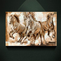 drei pferd malerei großhandel-Moderne Europäische ölgemälde Drei Galoppierenden Pferd Druck auf Leinwand Wandkunst Dekor Leinwand Poster Bilder für Wohnzimmer
