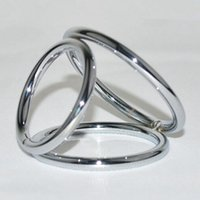 Wholesale Three Cock Rings - Men Sex Delay time Toy Cock Ring High Quality Stainless Steel Three Rings Separate Penis And Testis Fetish Metal Chastity Ring RYSM-005