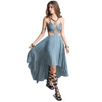 Wholesale Women S Sleeve Bodice Dress - Wholesale- Smoves Woman Deep V Neck Floral Lace Bodice Cut Out High Low Maxi Long Dress 2017 New Beach Poplin Bohemian Dresses GD302