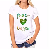 Wholesale Peace Clothes - Wholesale- 2017 New Summer Women Tops Casual O-neck Short Sleeve Peace Love Vegan T Shirt Plus Size Women Clothing Hot Sale