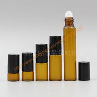 Wholesale Deodorant Bottles - 1ml 2ml 3ml 5ml 10ml brown Glass Bottle(long neck) With glass roller+black plastic lid,roll-on perfume deodorant bottle,glass container