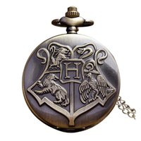 Wholesale Antique Watch Fob - Hogwarts Harry Potter Necklace Pocket Watch Vintage Pocket Watches Men Women Watch Chain Steampunk Fob Watch Retro Quartz Clock