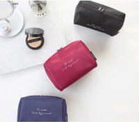 Wholesale Large Travel Wash Bag - New Simple solid nylon cosmetic bag multi-functional travel contractor large capacity Waterproof double Wash Bag wet and dry separating bag