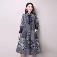 Wholesale Empire Bule Dress - 2017 Autumn New Women's National Wind Casual Long Sleeve Cotton Linen Dress Plus Size Long Bule Color Floral Print