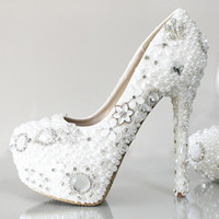 Wholesale Heels For Prom Cheap - Shiny Crystal Pearls Wedding Shoes For Women 2017 White Ivory High Heel 10CM 12CM PU Cheap Bridal Gown Party Prom Pumps Fast Shipping