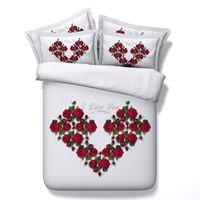 красноцветный одеяло покрывает полный оптовых-Благородный Сексуальная Красная Роза 3D печатных ткани Хлопок постельные принадлежности наборы Близнец полный королева король размер пододеяльники подушка Шам Утешитель Валентина подарок цветок