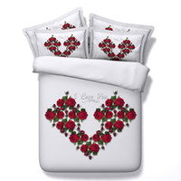 Wholesale Green Floral Bedspreads - 5 Styles Noble Sexy Red Rose 3D Printed Bedding Sets Twin Full Queen King Size Bedspread Bedclothes Duvet Covers Valentine Gift Flower Heart