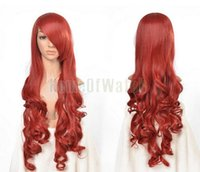 Wholesale Long Curly Red Orange Wig - wig purple New 32 Inches Long Red+Orange Cosplay Ladies' Curly Wigs 80cm (NWG0CP60817-RF2) wig weave