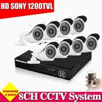 Wholesale New Dvr Surveillance System - NEW HD Best 8CH CCTV System Kit 1080N SONY Effio 1200TVL Waterproof Outdoor Video Surveillance DVR Security Camera System