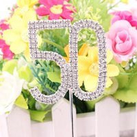 Atacado-Classic Crystal Rhinestone Cake Topper Number Idade 60th 50 21 Birthday Anniversary Cross Decoration