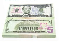 Wholesale Earliest edition Money banknote USD5 for movie props and Education bank staff training paper fake money copy money children gift