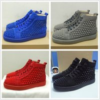 Wholesale Black Suede Dress Shoes - 2017 New Men Women Designer Casual Shoes Luxury Red Bottom Fashion Sneakers Black Suede Spikes Flat High Top Part Time Dress Leisure trainer