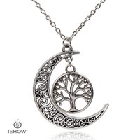 Wholesale Tree Life Family Gifts - Forever In My Heart Ring Necklaces Family Member Life of Tree hollow moon Pendant for Women Jewelry HYNX2790