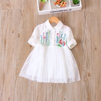 Wholesale Embroidered Neck - 2017 new arrival spring autumn girl's dresses gauze skirt girl embroidered lace neck bow cotton 5pcs lot
