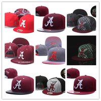 Wholesale peach color snapbacks online - Men s Alabama Crimson Tide NCAA Snapback Hats In Black Color Reflective Design USA College Letter A Logo Adjustable Caps