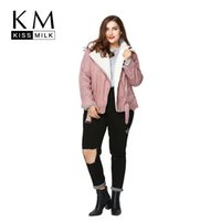Wholesale Moto Jacket Women Fashion - Wholesale- Kissmilk Plus Size Fashion Women Clothing Basic Warm Streetwear Outwear Long Sleeve Thicken Big Size Moto Jacket 3XL 4XL 5XL 6XL