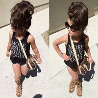 Wholesale Girls Black Denim Vest - Kids Summer Clothes Fashion Black Sets For Girls Toddler Vest + Denim Shorts Childrens Clothing Infants Letter Printed Outfits 2 pcs Suits