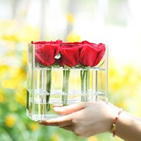 Wholesale Girlfriend Box - Fashion Clear Acrylic Flower Rose Box Jewelry Cosmetic Organizer Gift Box For Wife Girlfriend With Cover