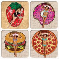 Wholesale Sexy Swimsuit Design - INS 28 Designs Choose Free Round Donut Pizza Hamburger Towel Beach Cover Ups Sexy Beach Towel Chiffon Swimsuit Cover Up Yoga Mat Dim 150cm