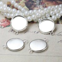 Wholesale 12mm Silver Pendant Trays - 100pcs lots, 12mm round pad, brass Pendant setting, cabochon settings, tray blank setting, silver pl