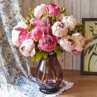Wholesale Artificial Silk Peony Bouquet Head Flower Fake Leaf Home Party Garden Wedding Decoration Pink Purple Hotpink