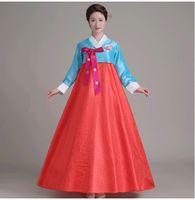Wholesale Lace Dance Set - Women Korean Traditional Dress 2017 Top + Skirt +Hair Band 3pcs Sets Korean Court Wedding Costumes National Costume Hanbok Asia clothing