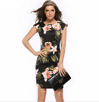 Wholesale Cheongsam Mini Skirt - 2017 new women dresses cheongsam self-cultivation pack hip dress big flower printing pencil skirt XXXL