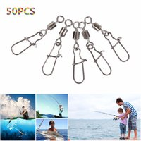 Wholesale Snap Swivels Bearing - 50PCS Fishing Bearing Rolling Swivel Steel Alloy With Snap Fishhook Lure Connector Fish Hook Tackle