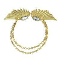 Wholesale Collar Clip Vintage - Fashion New Trendy vintage jewelry punk style Clear Rhinestone angel wings collar clips necklace for women