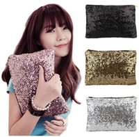 Wholesale Gold Metallic Clutch Bag - Women Comestic Makeup Bag Brand Designer Sequins Luxury Cosmetic Bags Organizer Handbag Glitter Bling Sequins Women Clutch