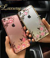 Wholesale Luxury Garden Wholesale - Luxury Bling Diamond Electroplate Frame Soft TPU Case For iPhone 5 SE 6 6S Plus 7 Plus Secret Garden Flower Clear Cover