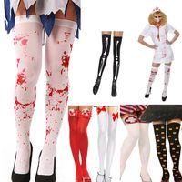 Wholesale Cotton Skeleton Leggings - Halloween Easter Blood Stocking Skeleton Leg Knee Long Socks Cosplay Props Bloody Socks Leggings Costume Socks For Children Dress HH-S32