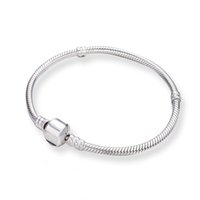 Wholesale Silver Barrel Beads - 3mm 17-21cm 925 Silver Plated Bracelet Snake Chain with Barrel Clasp Fit European Beads For Pandora Bracelet With Without Logo DIY jewelry