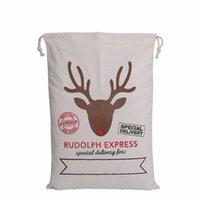 Wholesale String For Kids - 2017 Christmas Gift Bags Large Organic Heavy Canvas 2017 Christmas Bag Santa Sack Drawstring Bag With Reindeers Santa Bags for kids gift