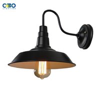 Shadeless outdoor wall paint - Vintage Black Painted Outdoor Iron Wall Lamp Bar Warehouse Aisle Wall Lighting E27 Lamp Holder V