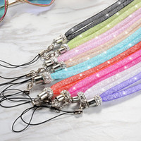 Wholesale Net Mobile - Fashion Colorful Neck Straps With Crystal Net Rope Mobile Phone Lanyard Elastic Nylon Woven Lanyards Top Quality 1 2yl B
