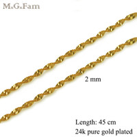 Wholesale Women Nickel Free Necklaces - (198N) ( 45cm*2 mm) 24k Gold Plated Small Water Wave Chains For Women Lead and Nickel Free