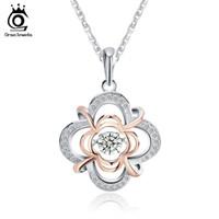 beweglicher halskettenanhänger großhandel-Genuine 925 Silber Nette Blume Anhänger Halsketten gemischt Rose Gold Farbe mit Beweglichen 0,3 ct Kristall für Frauen SN14