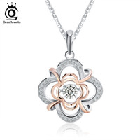 Wholesale Movable Plate - Genuine 925 Silver Cute Flower Pendant Necklaces mixed Rose Gold Color with Movable 0.3 ct Crystal for Women SN14
