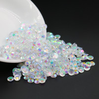 Wholesale Plastic Flat Circles - nail arts resin 3mm, 4mm, 5mm, 6mm, Transparent crystal clear AB Resin Flatback Rhinestone , plastic flat back stone wholesale