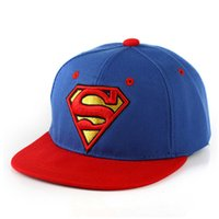 Wholesale Snapback Superman Cheap - Cheap New Boys Girls Fashion Superman Hats Flat Edge Ball Caps Sports Bboy Snapback Baseball Caps Adjustable Hip Hop Hats Cool 10Pcs Lot