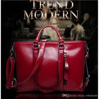 Wholesale Large Clear Handbags - Women Top-Handle Bags Female Large Tote Handbags Business Shoulder Bags Women PU Leather Crossbody Bag bolsos mujer