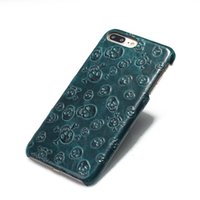 Wholesale Skull Phone Iphone Cases - Skull Head Phone Case First Layer Cowhide Genuine Leather Back Cover Case Ultra Slim Shockproof Cover For iPhone 6 6s plus 7 plus