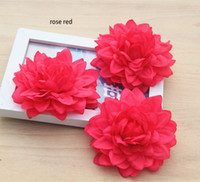 Wholesale Dahlia Flowers - 9cm 3.54inch big artificial emulational silk DAHLIA flower head for home,garden,wedding,or for on holiday beauty's hat or dress decoration